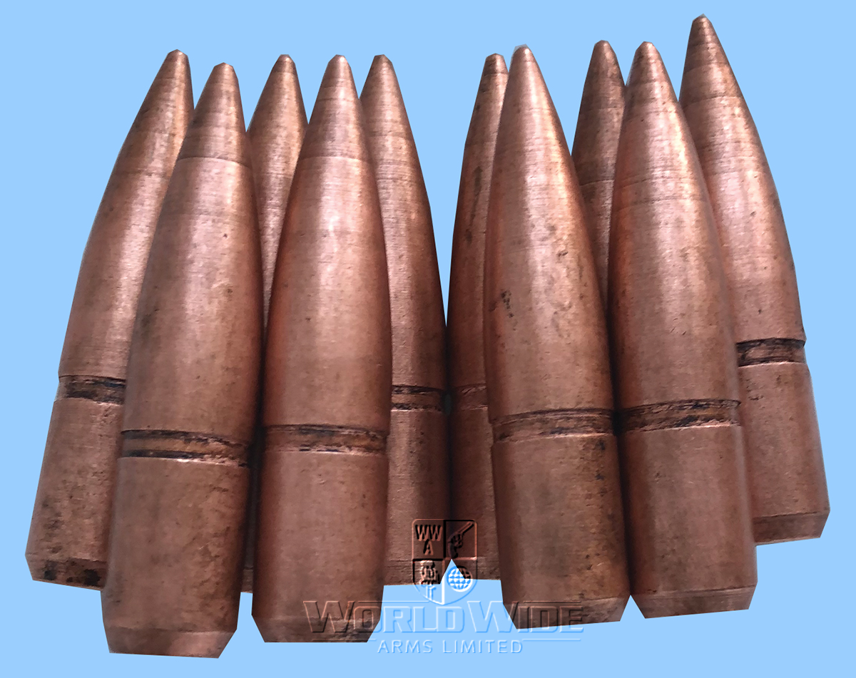 M623 OFFER ITEM Ten  .50cal  HMG Copper washed Steel Bullet Heads - World Wide Arms