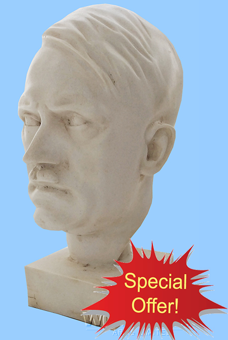 A169 OFFER ITEM Engineered White Marble Bust of Adolf Hitler - World Wide Arms